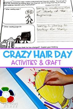 Crazy Hair Day Reading Lesson Ideas for 2nd grade. Reading comprehension activities and a fun craft! #secondgrade#crazyhairday #2ndgradelessonplans#engagingreaders #mentortexts