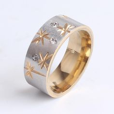 Find More Rings Information about 8mm gold carved flower crystal 316L Stainless Steel finger rings for women men wholesale,High Quality flower style engagement rings,China flower rings Suppliers, Cheap ring rattle from Chinese Jewelry Factory,Wholesale From Yiwu China on Aliexpress.com