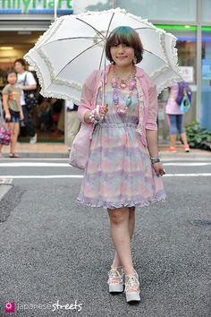 YOSHIMI (REI) Harajuku, Tokyo SUMMER 2013, GIRLS Kjeld Duits STUDENT, 20  Dress – 6%DOKIDOKI Cardigan – Comme des Garçons tao Shoes – NICE CLAUP  xReiiiiii @ twitter