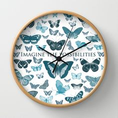 Imagine the Possibilities Butterflies Wall Clock by Zen and Chic - $30.00