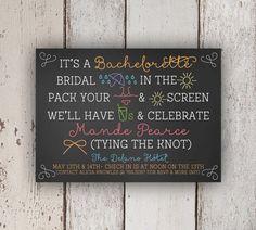 Bachelorette Party Invitation (Chalkboard, Beach Party) by Petit Papel