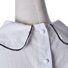 Вышитые Cat Шея с длинным рукавом Кнопка назад блузка рубашка Топы Сыпучие Сладкий Симпатичные | eBay