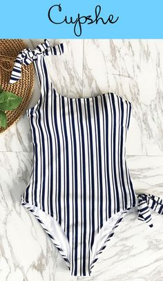 Chic new arrival! One shoulder design, tie a kont at should and leg, timeless stripes printing~ We can't get enough of this swimsuit! FREE shipping! SHOP NOW.