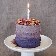 Banana Birthday Cake layered with Chocolate Ganache & Blueberry Cream