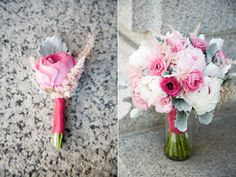 wedding flowers were designed with pale pink and white peonies, two shades of pink ranunculus, pale pink astilbe, pink lisianthus, and grey dusty miller-both finished in a deep pink satin ribbon. A favorite!
