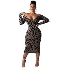 04fa5d150e Casual Leopard Print Midi Dress. Club Party DressesBodycon DressV NeckSexy  DressesCasualAccessoriesWomens ...
