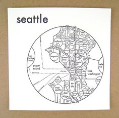 Letterpress Circle Map of Seattle in 4 colors  by archiespress, $23.00
