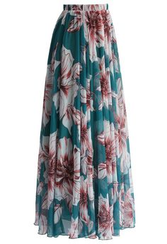 Marvelous Floral Maxi Skirt in Turquoise - Skirt - Bottoms - Retro, Indie and Unique Fashion