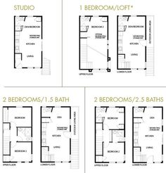 """""""microhouse"""" layouts by DR Horton at Division 43 neighborhood in Portland//there are """"single-family homes"""" (the 2 bedroom/2.5 bath) and stacked units (either the 1 bedroom/loft or 2 bedroom/1.5 bath above a studio)."""