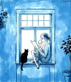 A winfow sill, a book, a cuppa, a cat... The only thing missing is a little curly haired toddler playing next to me.