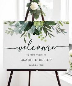 """Eucalyptus Green Foliage Wedding Welcome Sign This wedding welcome sign features painted watercolor eucalyptus and green leaves. For more advanced customization of this design, Please click the """"Customize further"""" link. Matching items are also available. How To Dress For A Wedding, Welcome To Our Wedding, Welcome Party, Wedding Signage, Wedding Entrance Table, Gift Table Wedding, Entrance Decor, Eucalyptus Wedding, Wedding Colors"""
