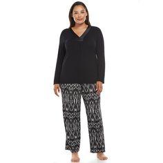 Plus Size Apt. 9® Pajamas: Magical Morning Satin-Trim Pajama Set