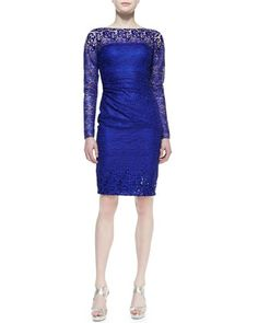 Long-Sleeve Lace Cocktail Dress, Royal  by David Meister at Neiman Marcus.