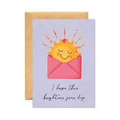 I Hope This Brightens Your Day - Just Because / Positivity Happiness Card Fingerprint Cards, Cards For Friends, Friend Cards, Make Your Own Card, Fathers Day Cards, Get Well Cards, Handmade Birthday Cards, Cool Cards, Kids Cards