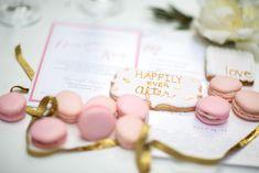 Blush pink macarons and wedding invitations | Maru Photography |  http://burnettsboards.com/2014/08/hidden-garden-bridal-inspiration/