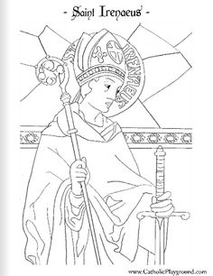 Saint Irenaeus Catholic coloring page: Feast day is June 28th
