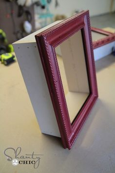 red frame shelf shadow box DIY Tiny Home Decorating On A Tiny Budget Picture Frame Crafts, Old Picture Frames, Photo Frames Diy, Diy Wooden Picture Frames, Picture Ledge, Diy Shadow Box, Shadow Box Frames, Chic Shadow, Shadow Box Shelves