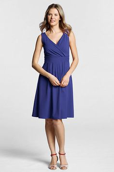 Women's Sleeveless Solid Cotton Modal Fit and Flare Dress from Lands' End