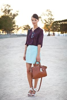 Longer skirt, lower heels.   Navy and mint. Never would have thought of this color combo.