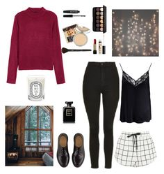 """""""Valentine's Day in the Cabin"""" by aestheticarithmetic ❤ liked on Polyvore featuring H&M, Topshop, Dr. Martens, Diptyque, Boohoo, Lancôme, Chanel, NYX, TheBalm and valentine"""