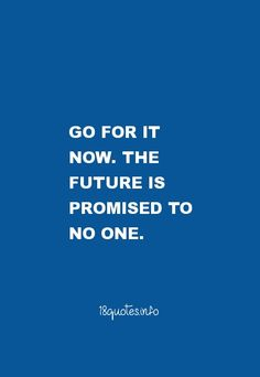 Motivational Quotes Go for it now. The future is promised to no one.