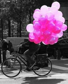 Hot Pink Balloons on a Paris Bicycle Black and Pink Black and White
