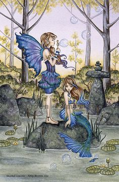 Mermaid and Fairy with bubbles 13X19 limited by AmyBrownArt