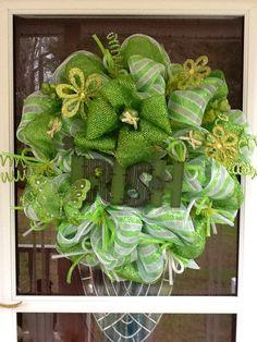 St.Patricks Day Mesh Wreath. $85.00, via Etsy.