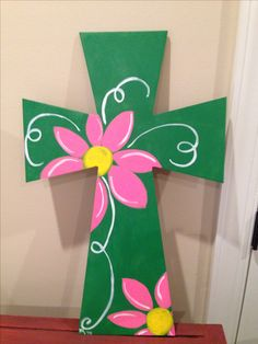 Hand painted wooden cross green w/ large pink flowers