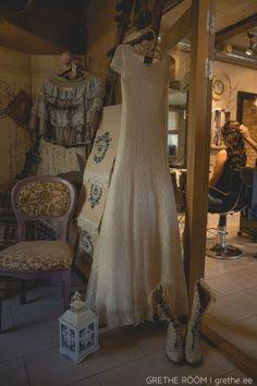 Exclusice hand-knitted wedding dress, made by Ivika Viljasaar