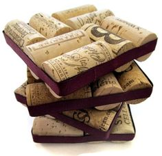 Wine Cork Coasters With Plum Ribbon Set of por LizzieJoeDesigns