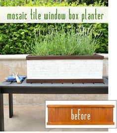 mosaic-tile-window-box-planter-before-and-after NOTE: Use to cover the planter inside the milk cart?????