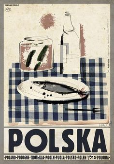 Polska wodka i sledzik Check also other posters from PLAKAT-POLSKA series Original Polish poster designer: Ryszard Kaja year: 2013 size: Graphic Illustration, Graphic Art, Polish Posters, Advertising Poster, Vintage Travel Posters, Illustrations And Posters, Art Design, Pop Art, Drawings