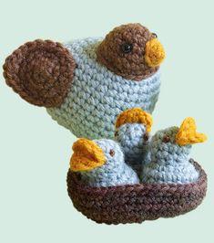 Adorable crocheted amigurumi baby birds in a nest!