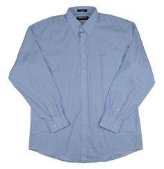 Kirkland Signature Men 80/2 Dress Shirt Non Iron Plaid Squares Blue Size 17 - 36 #KirklandSignature #DressShirt