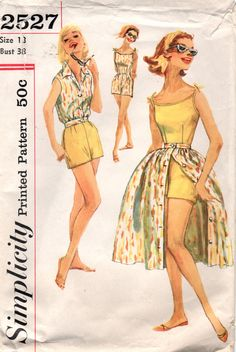 1950s Simplicity 2527  Misses Romper Full Skirt  and Sleeveless Jacket womens vintage sewing pattern and by mbchills