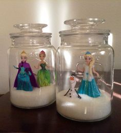 frozen crafts - Elsa, Anna and Olaf mini figures in a jar Disney Frozen Party, Frozen Themed Birthday Party, 3rd Birthday Parties, Girl Birthday, Frozen Kids, Festa Frozen Fever, Frozen Room, Frozen Crafts, Frozen Christmas