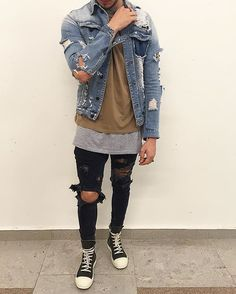 """mensstreetstyle: """"An outstanding outfit! Ripped Yves denim jacket, Plain brown tee followed by a grey extended under shirt and black super skinny denim jeans. """""""