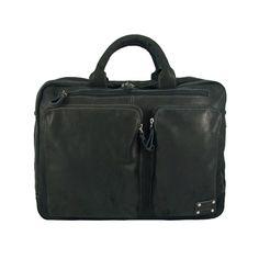 Uitgebreide en zeer overzichtelijke laptoptas 15 inch. Verkrijgbaar in zwart en cognac bij Hipperz.nl