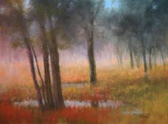 Misty Morning Forest  Original Pastel by Paula Ann Ford
