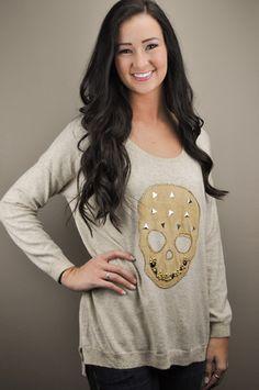 Sweater with Jeweled Skull Design by Jondie | JONDIE