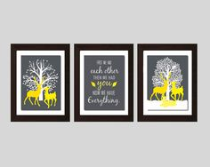 Summer Sale     First We Had Each Other Sign, Stag Doe Fawn Wall Art, Gray Yellow Decor, Gray Yellow Wall Art, Nursery Wall Art Gender Neutral Nursery Print, Three 8X10 Prints, Choose your color    ♥ Listing includes Three 8x10 prints ♥ Prints are unmatted and unframed. Framed images are for example only.    ♥ All prints are professionally printed on Kodak Endura Premier Paper with luster finish.  Back to my shop: https://www.etsy.com/shop/FKArtDesign?ref=hdr_shop_men...