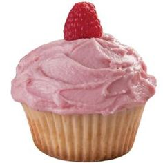 Yellow cupcakes with raspberry buttercream.  Might try it on lemon cupcakes...  Mmmm....