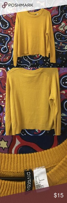"Mustard Sweater Mustard yellow sweater from H&M. I am so sad that I no longer fit this sweater as it is so cute. When it did fit, I got many compliments and people asking where I got it all the time. 🌻Please be sure to refer to my ""no lowball offers"" post🌻 Divided Sweaters"