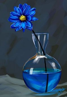 Lone blue flower blue water vase. 40 Easy Still Life Painting Ideas For Beginners