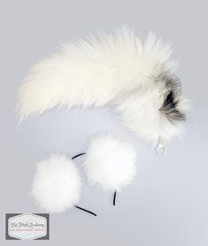 Genuine Platinum Fox Tail Clip On and Ears Set Cat Ears And Tail, Bunny Tail, Fur Slides, Fox Fur, Spirit Animal, Hair Band, Neko, Spice Things Up, Indigo