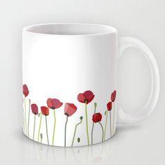 Red Poppies Mug by Laura Minimalia Painted Coffee Mugs, Hand Painted Mugs, Cute Coffee Mugs, Hand Painted Wine Glasses, Hand Painted Ceramics, Pottery Painting Designs, Pottery Designs, Mug Designs, Ceramic Painting