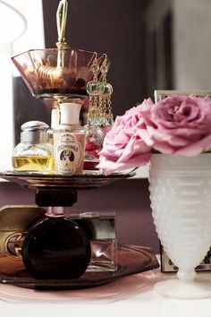 Cake stand as perfume stand
