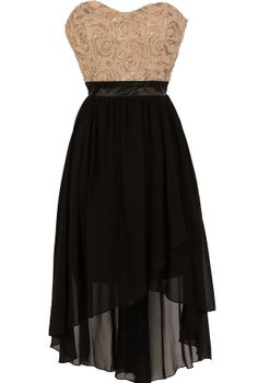 Black and Taupe Sparkle Textured Lace Designer Dress