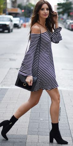 """Take it easy in the Striped Bardot Bell Sleeves Dress! Features thin stripes, relax fit, long bell sleeves, and an elasticized neckline. Dress measures 28"""" in. approx. from shoulder to bottom hem. Complete the look with flatforms and a lace choker for a play on patterns!"""
